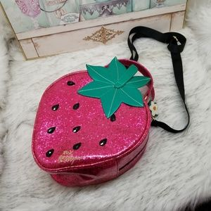 Betsy Johnson strawberry lunch bag with strap